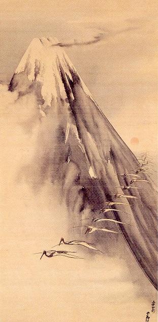 『富士越鶴図(ふじえっかくず)』長沢蘆雪 作(1794年)
