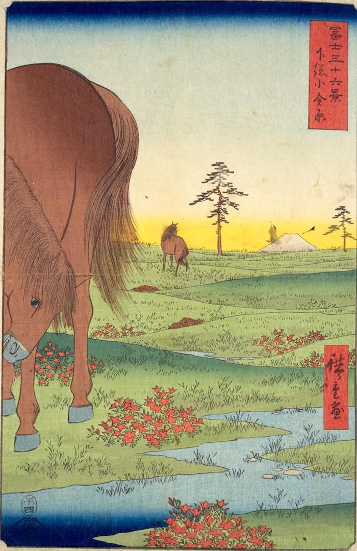 『冨士三十六景』より「下総小金原」(1859年)の拡大画像