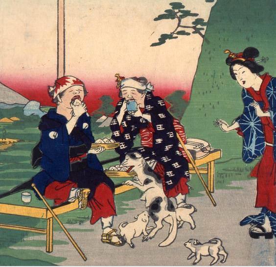 茶屋で休憩中の人の食事を野良犬がパクリ(『東京名所三十六戯撰 目黒』昇斎一景 画)