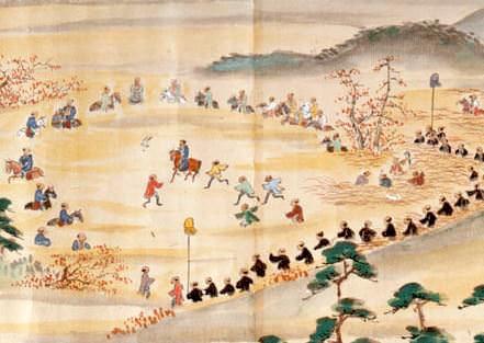 徳川家治の鷹狩風景を描いた『将軍家駒場鷹狩図』