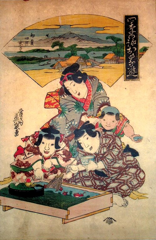 『四季の詠おさな遊』「初夏四月衣更」(渓斎英泉 画)