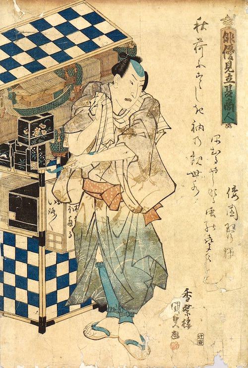 『俳優見立夏商人』「虫屋」(歌川国貞 画)
