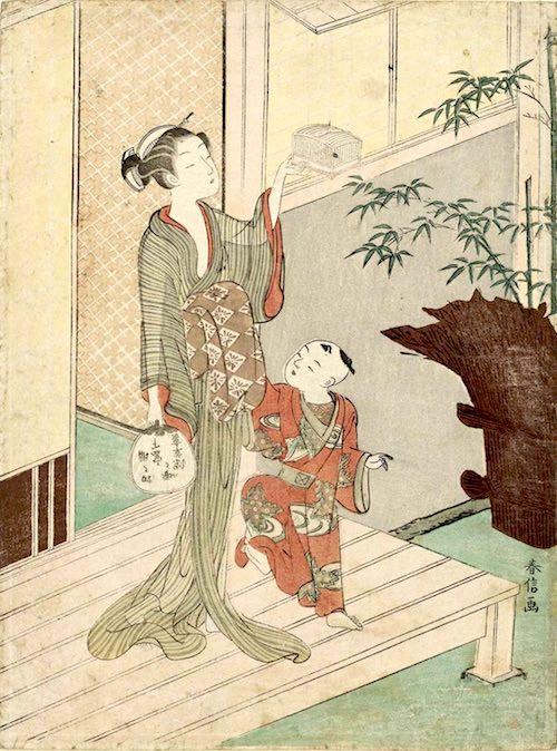 虫籠を持った美女が縁側で夕涼み(『虫籠を持つ美人』鈴木春信 画)