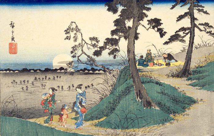 『東都名所 道潅山虫聞之図』(歌川広重 画)