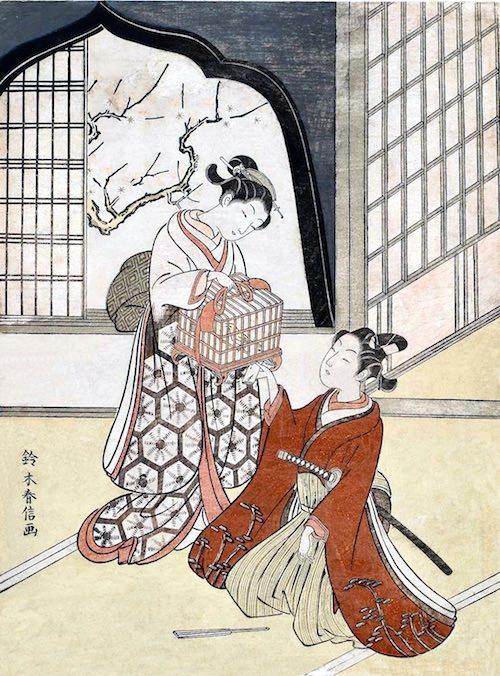 『鳥籠を持つ男女』(鈴木春信 画)