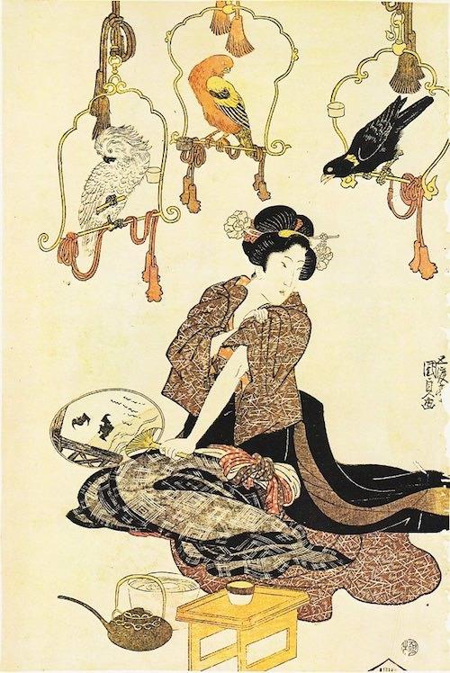 江戸時代の見世物小屋で海外の鳥は人気だった(歌川国貞 画)