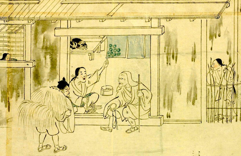 『信山縁起絵巻』に描かれた猫(描かれた猫として日本最古)の拡大画像