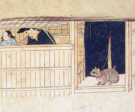 鎌倉時代から室町時代頃の猫(『石山寺縁起絵巻』部分)