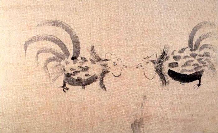 『闘鶏図』(徳川家綱 画)