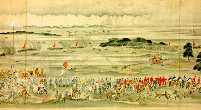 江戸時代の鹿狩り(今の千葉県松戸市の小金牧、『小金原田蒐之図』部分)