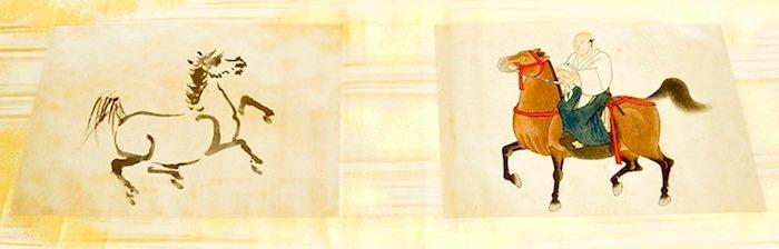 右は馬上の吉宗公、左は吉宗が描いた馬の墨絵