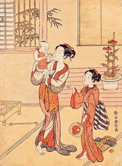 『夏姿 母と子』(鈴木春信 画)