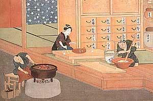 江戸時代のカステラづくり。当時は鍋で焼いた