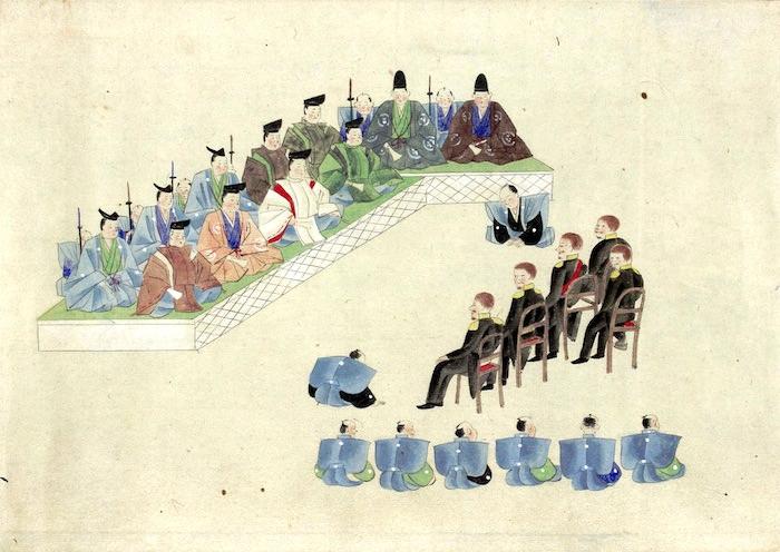 ハリスを引見する将軍・徳川家定(『伝彼理登城将軍謁見之図』部分)