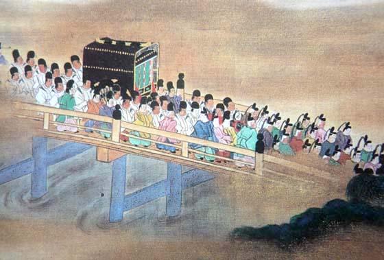 降嫁のため江戸へ下向する和宮の壮麗な大行列(『和宮江戸下向絵巻』部分)
