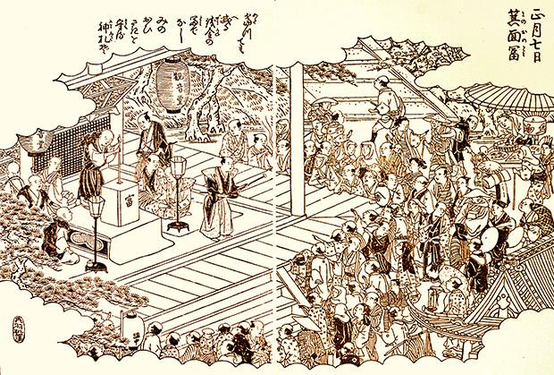 「宝くじの発祥地」ともいわれる龍安寺での富くじのようす(『摂津名所図会』)