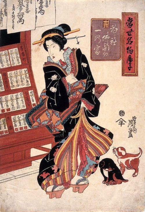 購入した富札を握りしめる美女(『當世名物鹿子神社佛閣の一乃富』渓斎英泉 画)