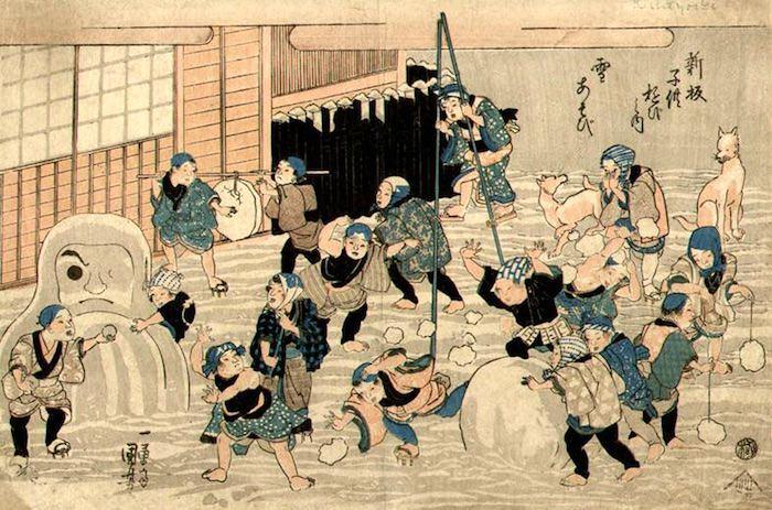 江戸時代の雪合戦、雪だるま(『新板子供遊び之内雪遊び』歌川国芳 画)