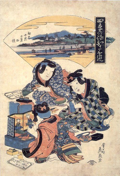 江戸時代の人形遊び(『四季の詠おさな遊』渓斎英泉 画)