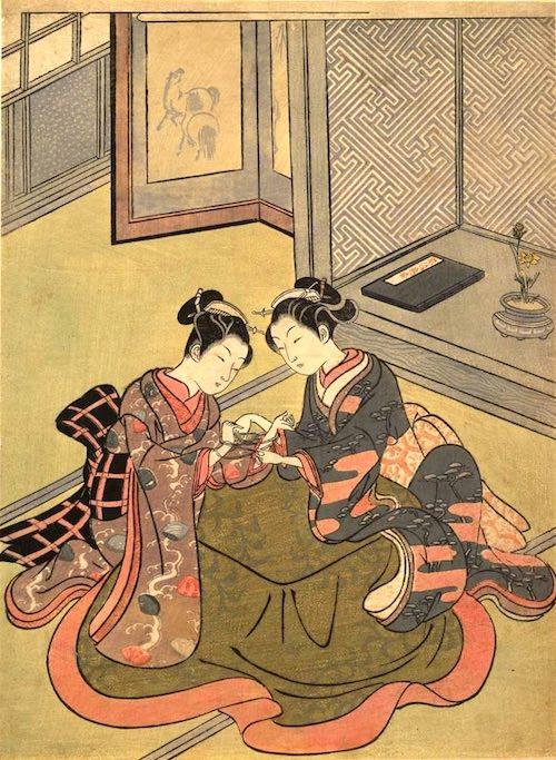 江戸時代のあやとり(『あやとり』鈴木春信 画)