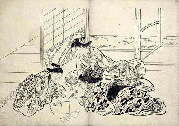 江戸時代の折り紙(『西川筆の海』より 西川祐信 画)