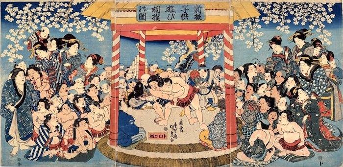 江戸時代の相撲遊び(『新板子供遊び之内相撲』)