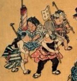 江戸時代の火消ごっこ(『風流をさな遊び』より 歌川広重 画)