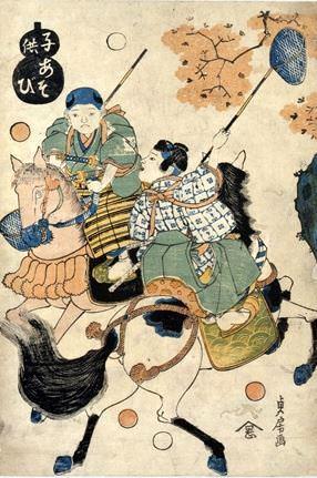 江戸時代の遊び『打球』(『子供あそび』貞房 画)