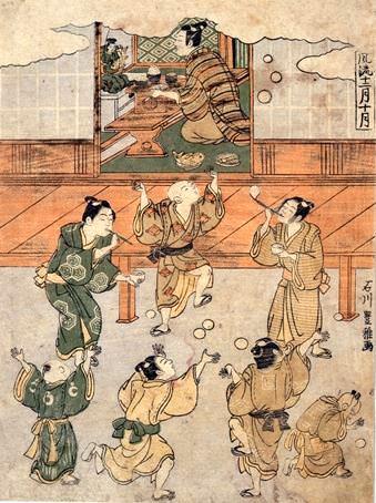 江戸時代のシャボン玉遊び(『風流十二月十月』豊雅 画)
