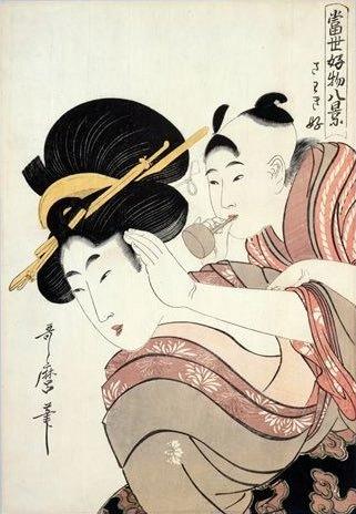 江戸時代のビードロ(『当世好物八景』「さわき好」喜多川歌麿 画)