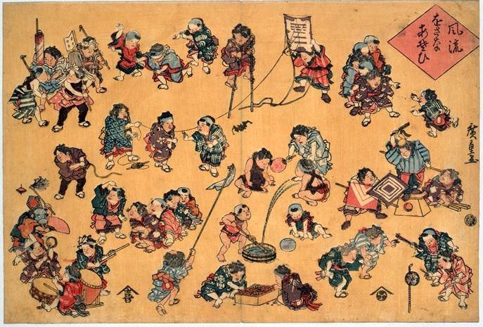 江戸時代の男の子の代表的遊びを描いた『風流をさな遊び』