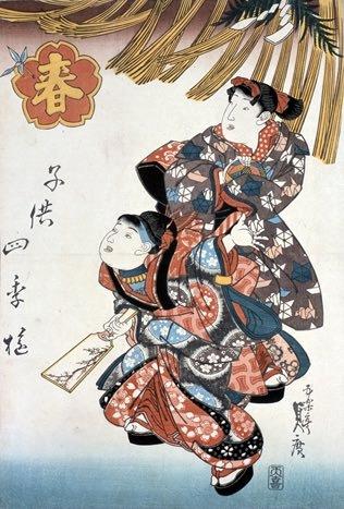 江戸時代の羽根つき(『子供十二月』「春」 歌川貞広 画)