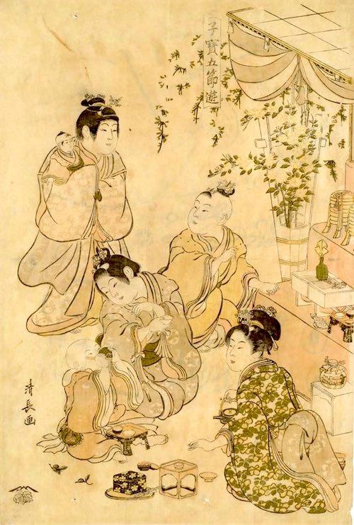 江戸時代のおままごと(『子宝五節遊』「雛遊」鳥居清長 画)
