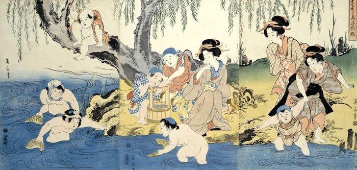 江戸時代の魚釣り(『すな鳥子供遊』英山 画)