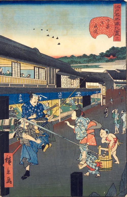 江戸時代の水鉄砲(『江戸名所道化尽』「下谷御成道」歌川広景 画)