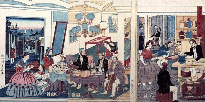 江戸時代、外国人の屋敷でのパーティ(『横浜異人屋敷之図』歌川芳員 画)