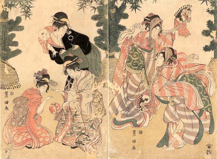 手まりで遊ぶ江戸時代の女の子(初代歌川豊国 画)