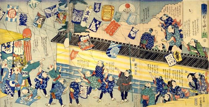 江戸時代の凧あげ(『子供遊び凧の戯』歌川芳盛 画)