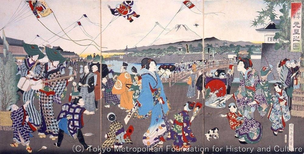 江戸時代の正月の風景(『江戸砂子年中行事 元旦の図』揚州周延 画)の拡大画像