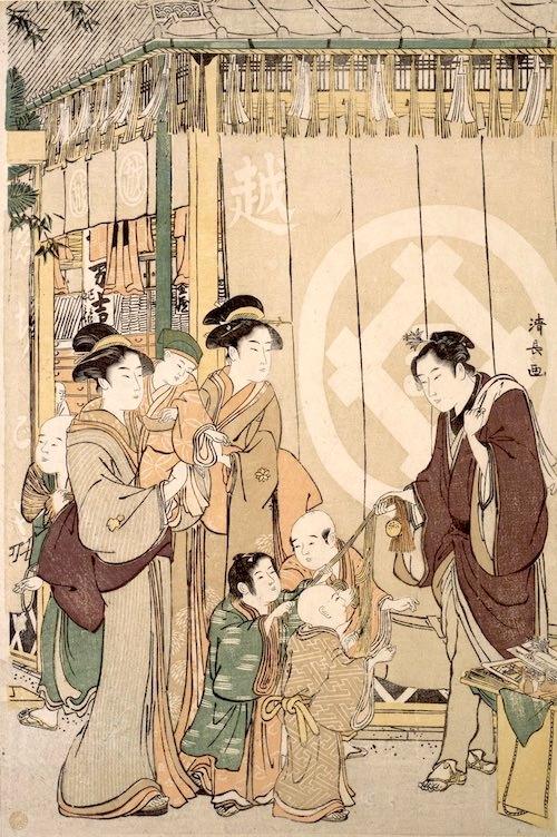 辻宝引き(江戸時代の福引き、鳥居清長 画)