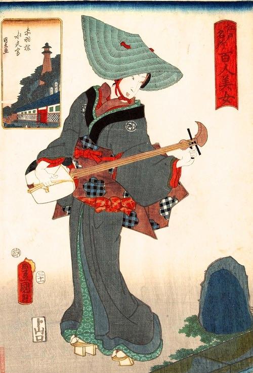 鳥追い(正月中旬頃までだけ現れた女太夫、『江戸名所百人美女』「赤羽」歌川豊国 画)