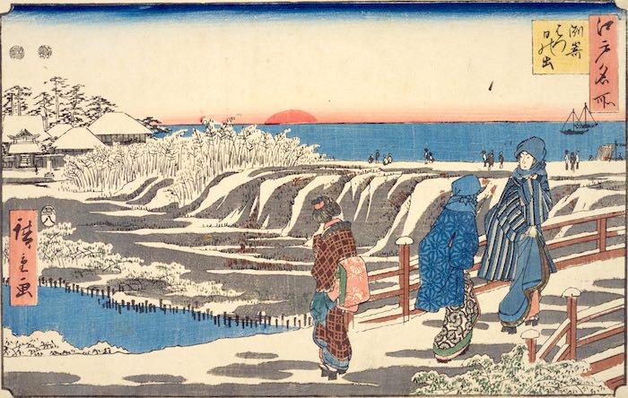江戸時代、洲崎は初日の出のメッカ(『江戸名所 洲崎はつ日の出』歌川広重 画)