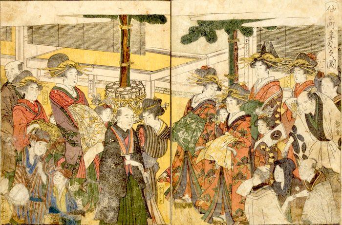 お正月の吉原(『青楼絵抄年中行事』より 十返舎一九 作・喜多川歌麿 画)