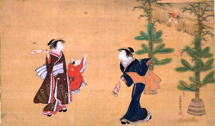 江戸時代の門松(磯田湖龍斎 画)