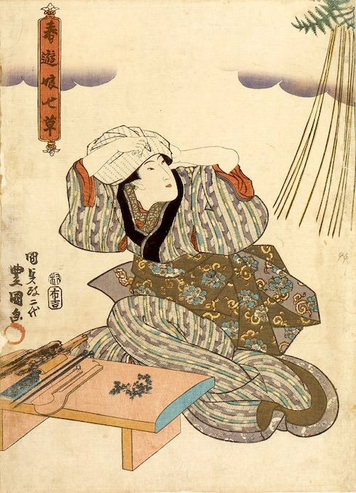 七草がゆをつくろうとする江戸時代の女性(『春遊娘七草』より 三代歌川豊国 画)