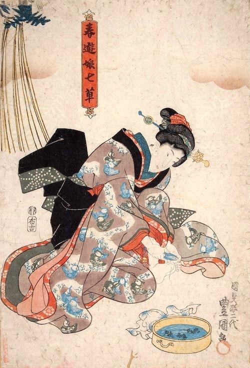 七草爪の様子(『春遊娘七草』より 三代歌川豊国 画)
