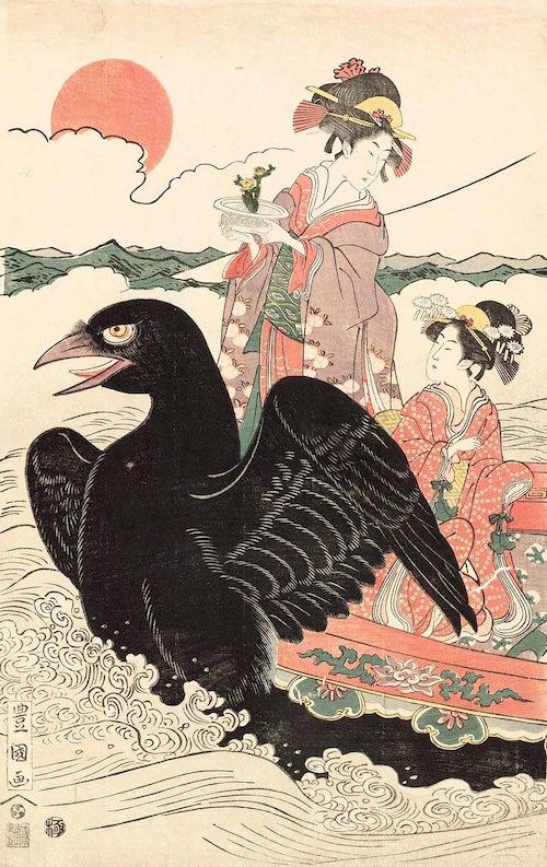 カラスに乗って初日の出に向かう女性(初代歌川豊国 画)