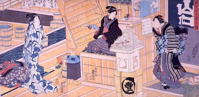 正月の初湯の女風呂(歌川豊国 画)