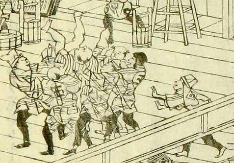 江戸時代、煤払いが終わると胴上げをする様子