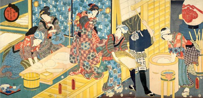 江戸時代の餅つきの様子(『十二月之内 師走餅つき』三代歌川豊国 画)